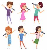 Singing Kids. Happy Cute Childrens Music Voice Study Boys And Girls Standing With Microphone Vector  poster