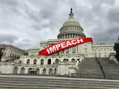 Impeach And Impeachment Concept As United States Congress Votes On Legislation For Impeaching A Pres poster