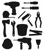 Work Tools, Home Repair And House Renovation Instruments Vector Silhouettes. Construction Drill, Ax  poster