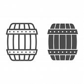 Wooden Barrel Line And Glyph Icon. Cask Of Beer Vector Illustration Isolated On White. Keg Outline S poster