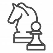 Chess Knight Line Icon. Chess Horse Vector Illustration Isolated On White. Equine Outline Style Desi poster