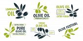 Flat Olive Oil Labels Collection With Green And Black Olive Branches And Different Inscriptions. Iso poster