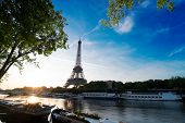 Paris Eiffel Tower And Famous River Seine At Sunrise In Paris, France. Eiffel Tower Is One Of The Mo poster