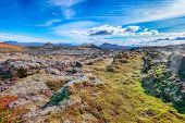 Exotic View Of Lavas Field In The Geothermal Valley Leirhnjukur, Near Krafla Volcano. Location: Vall poster