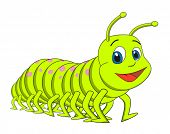 stock photo of caterpillar cartoon  - Caterpillar centipede cartoon vector illustration - JPG