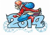 foto of horse wearing santa hat  - santa claus biker biker on the 2014 figure of digit symbol of the horse - JPG