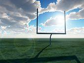stock photo of football field  - An American football post on a field - JPG