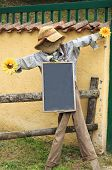 Scarecrow with whiteboard