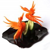 Design  Chine's Food -crane Catting From Carrot On Black Plate