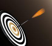 image of projectile  - 3D illustration of orange dart hitting targets bullseye - JPG