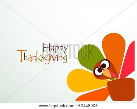 Beautiful, colorful cartoon of turkey bird for Happy Thanksgiving celebration, can be use as flyer,  poster