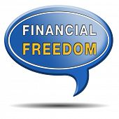 financial freedom and economic independence self sufficient and debt free sign.