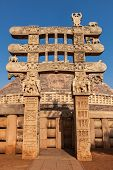 Great Stupa - ancient Buddhist monument. Sanchi, Madhya Pradesh, India