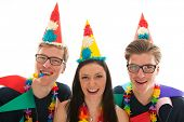 pic of identical twin girls  - Identically adult male twins having birthday together with girl in studio - JPG