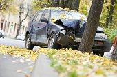 stock photo of ram  - road accident car crash on an city road highway - JPG
