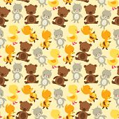 Seamless pattern with baby cat, bear, fox and duck.