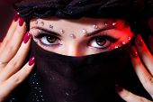 image of yashmak  - arabian woman close - JPG