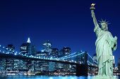 picture of statue liberty  - Brooklyn Bridge and The Statue of Liberty at Night - JPG