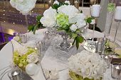 stock photo of unity candle  - Elegant wedding dinner - JPG