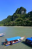 picture of langkawi  - Tourist boats at Island of the Pregnant Maiden lake Marble Geoforest Park Langkawi Malaysia - JPG