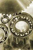 b all-bearings, gears and cogs in a bronze toning concept