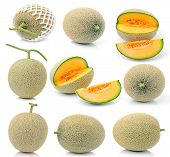 picture of muskmelon  - cantaloupe melon isolated on over white background - JPG