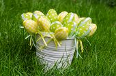 Easter Eggs In White Pail On Grass
