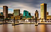 image of pov  - Long exposure of docks and the skyline at the Inner Harbor Baltimore Maryland - JPG