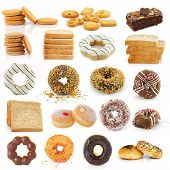 Cookies, Bread, Donuts, Brownies Isolated On White Background