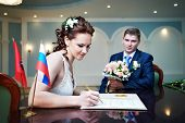 stock photo of solemn  - Solemn registration of marriage in the Wedding Palace - JPG