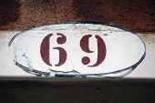 House Number Sign In Venice,number 69