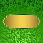 Clover Background With Empty Golden Label.