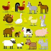 pic of baby goose  - Vector Set Of Different Cartoon Farm Animals Isolated - JPG