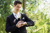 Young smart groom checking time in garden
