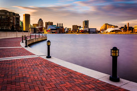 picture of maryland  - Long exposure of the skyline and Waterfront Promenade in Baltimore Maryland - JPG