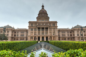 pic of granite dome  - The Texas State Capitol Building with a view of the modern extension in downtown Austin - JPG
