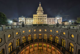 picture of granite dome  - The Texas State Capitol Building with a view of the modern extension in downtown Austin at Night - JPG