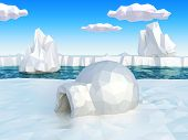 stock photo of igloo  - Very high resolution computerr generated Nordic landscape with igloo - JPG