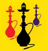 stock photo of peace-pipe  - Vector illustration of different colors hookahs - JPG