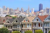 San francisco california united states - city skyline with famous painted ladies victorian homes at alamo square (western addition neighborhood) pic.