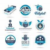 stock photo of volleyball  - Quality set of icons related to sports and volleyball - JPG