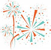 image of firework display  - Big color fireworks on white background - JPG