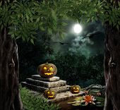 picture of headstones  - Pumpkin Halloween on old stone grave in the night sky - JPG