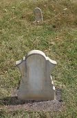 foto of headstones  - Marble headstone and footstone in old cemetery - JPG