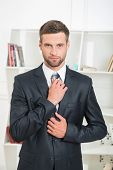 picture of stand up  - Waist-up portrait of handsome businessman in suit standing in office interior and looking at the camera and tighten his tie with strong and confident face ** Note: Soft Focus at 100%, best at smaller sizes - JPG