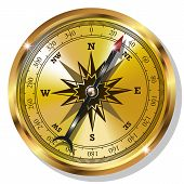 stock photo of longitude  - Vector Golden Compass isolated on white background - JPG