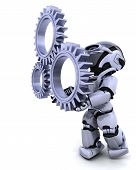 stock photo of mechanical engineer  - 3d Render of a robot with gear mechanism - JPG