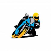 Постер, плакат: Motorcycle Races Vector Sign