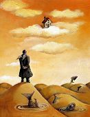 picture of fussy  - Man with little wings looks a hause in the sky - JPG