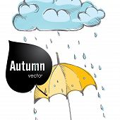 image of rainy season  - Rainy Season Background With Umbrella And Rain Drops - JPG